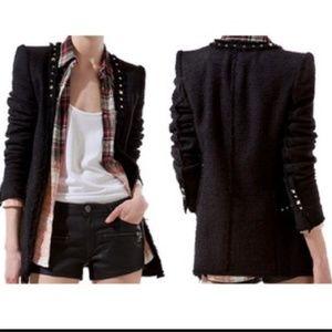 ZARA Women Woven/Tweed Blazer With Studs